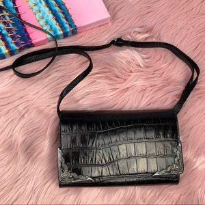 Brighton black leather wallet on crossbody strap